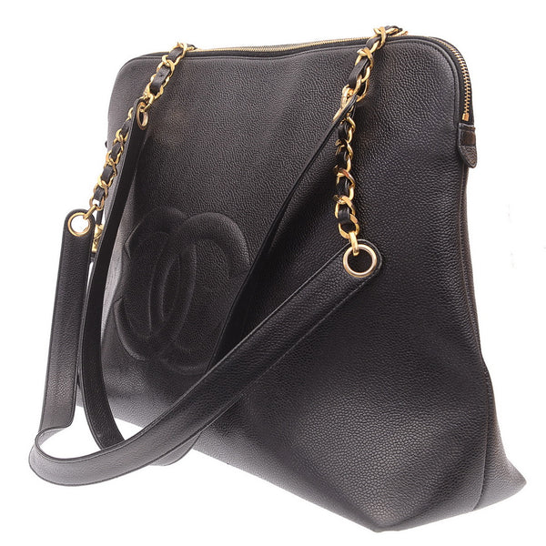 CC Caviarskin Chain Large Vintage Zipped Shoulder Bag