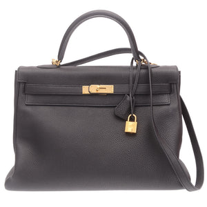 Black Kelly Togo Bag 35cm