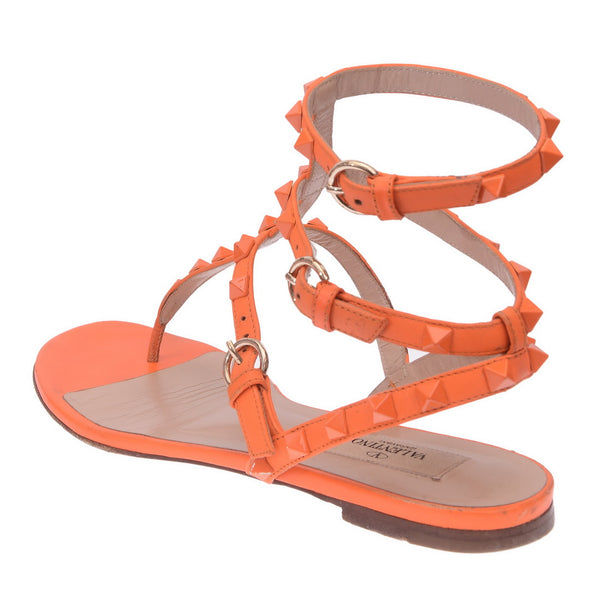 Neon Orange Gladiator Rockstud Leather Sandals