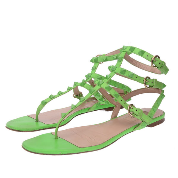 Neon Green Gladiator Rockstud Leather Sandals