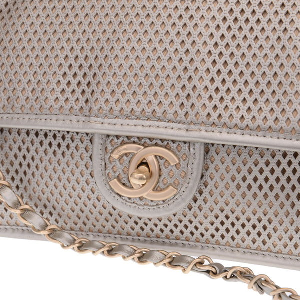 Gold Silver Perforated 'Up In The Air' Flap Bag