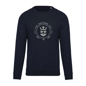 "Sweat col rond bleu marine ""Poker face"""