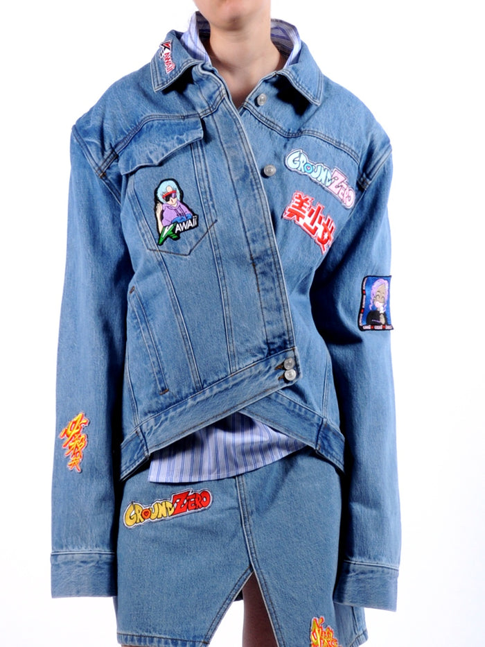 Asymmetric Denim Patches Jacket