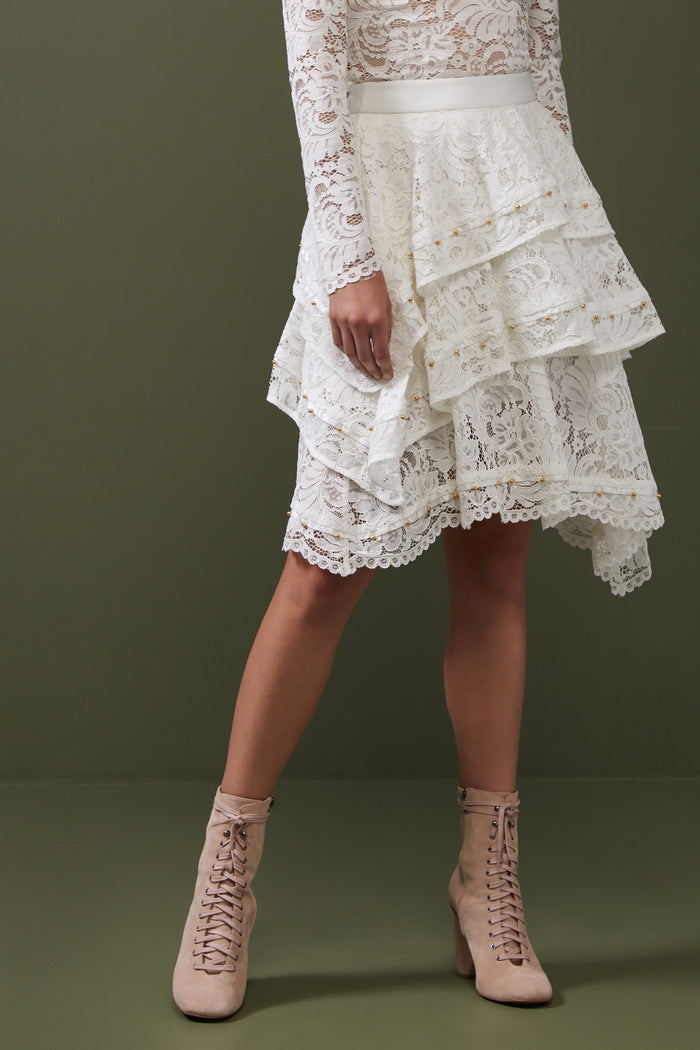LACE CROSSED SKIRT