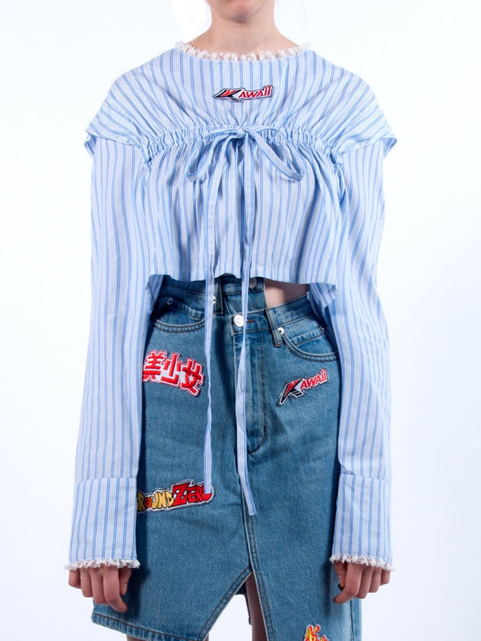 KAWAII STRIPE TIE CROP SHIRT