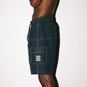 ALL DAY SWIM SHORT -  BLACK / CONTRAST STITCH