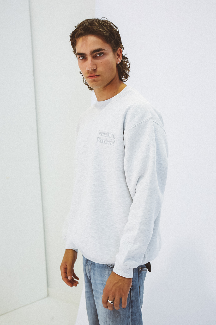LOGO CREWNECK SWEATSHIRT GREY