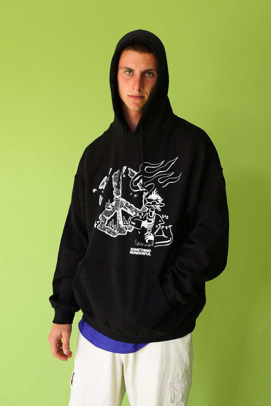 PEACE HOODED SWEATSHIRT BLACK