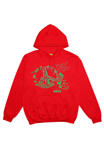 PEACE HOODED SWEATSHIRT RED