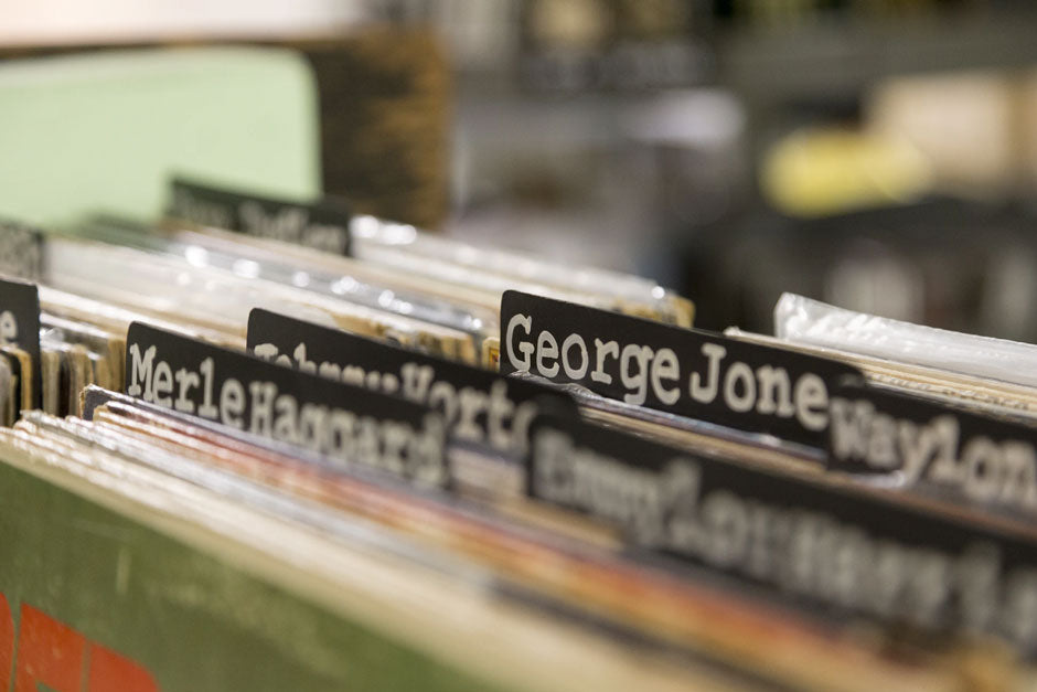 Vinyl records stored by artist name