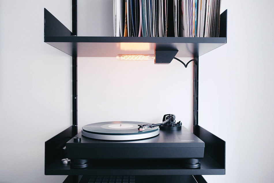 black vinyl record player stand