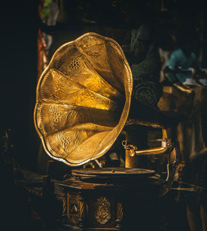 closeup of gramophone