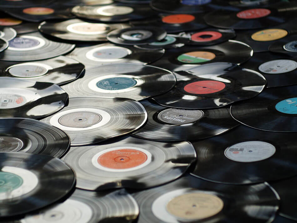 scattered vinyl records