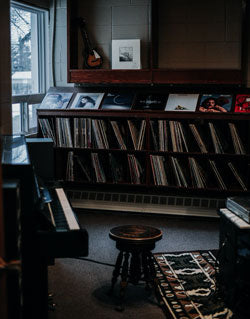 record room with piano