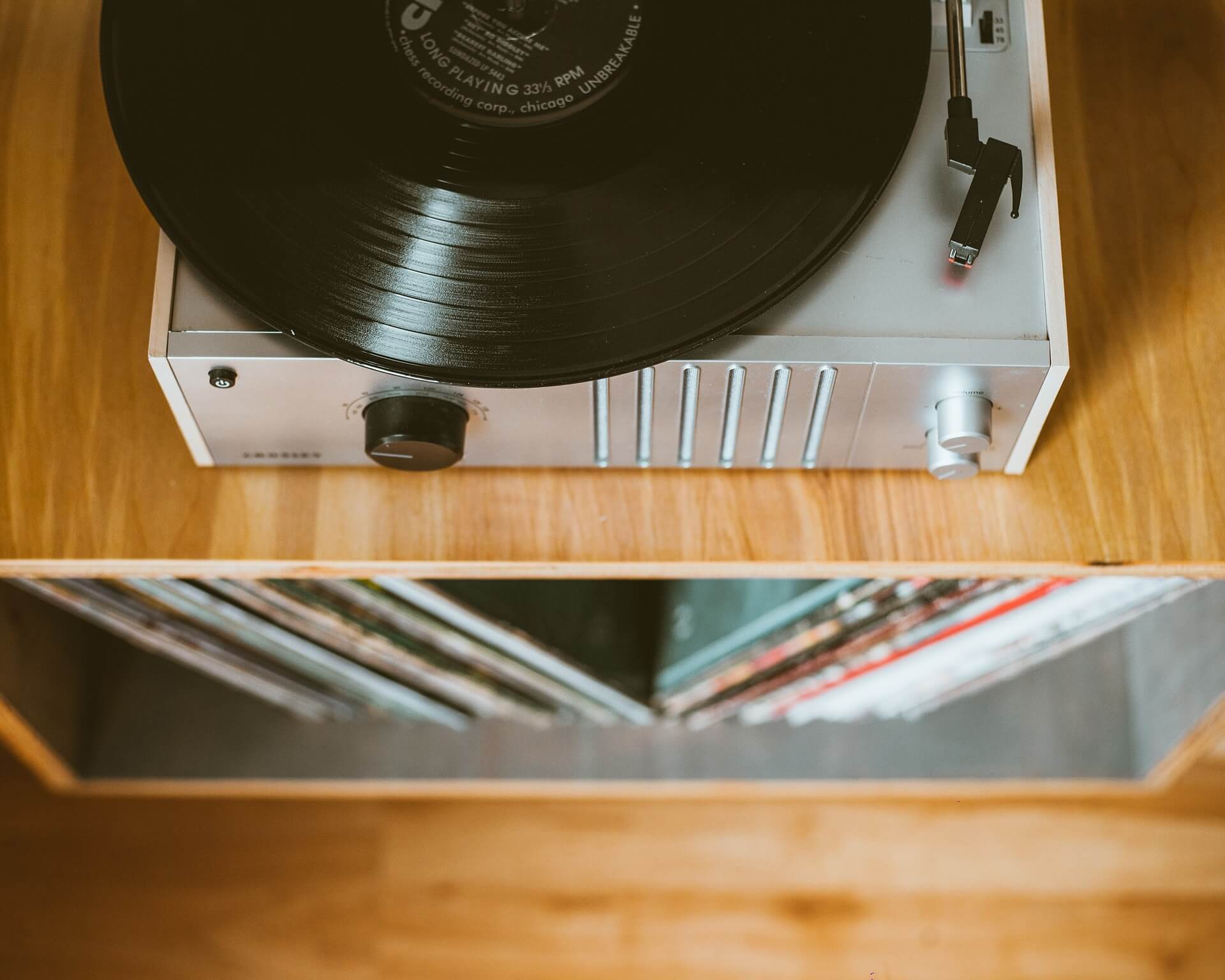 record player and vintage vinyl