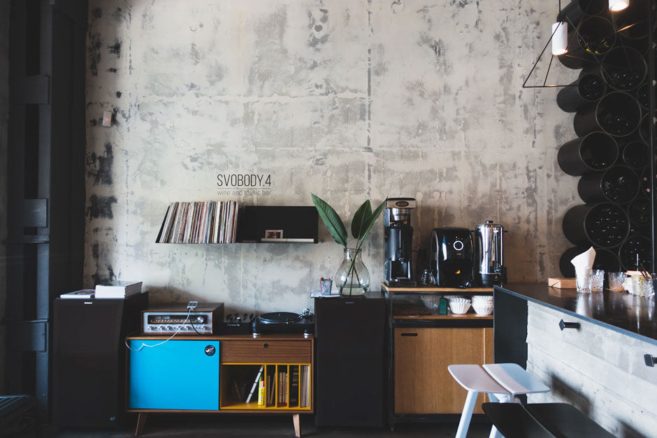 vinyl records stored in wall shelves