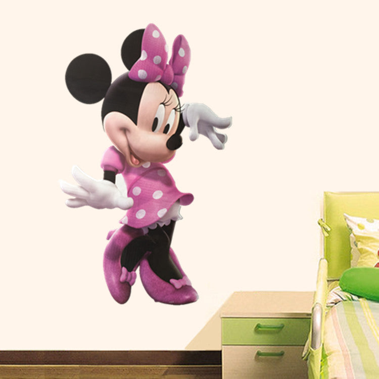 Cartoon Minnie Mouse Wall Stickers Home Mural Art Decals For Kids