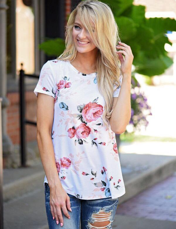 Short Sleeve Floral Print Summer Blouse - Fancyqube