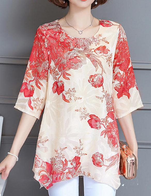 plus size Printed short sleeve chiffon blouse - Fancyqube
