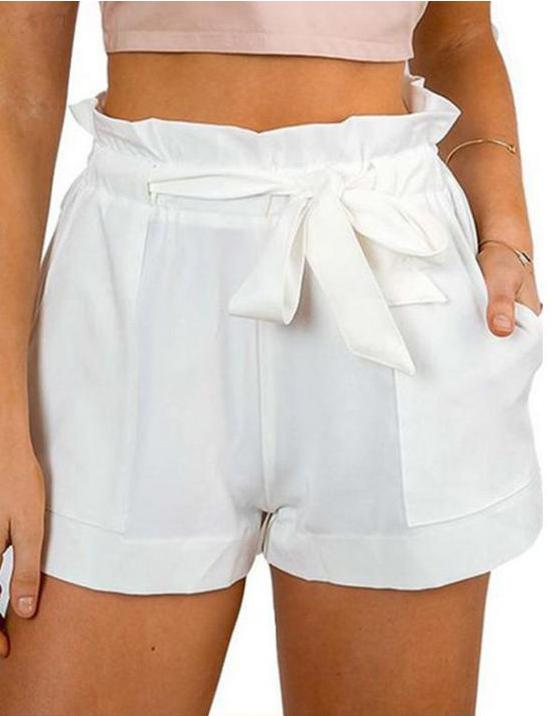 Pleated Waist A-line Shorts with Waist Tie - Fancyqube