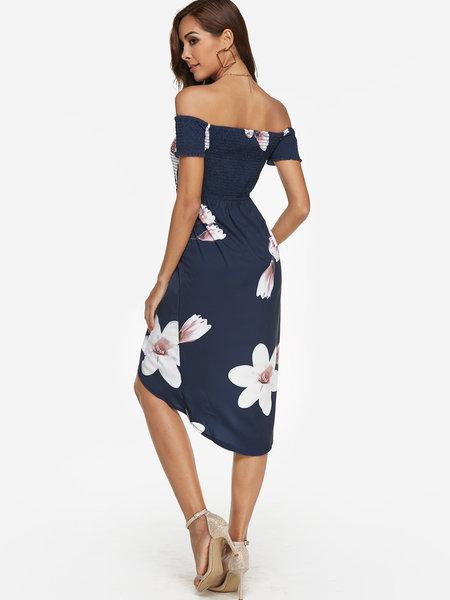 New High-Low Off-the-Shoulder Printed Midi Dress