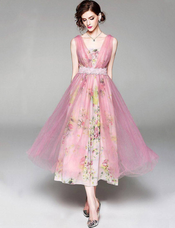 Sexy V-Neck Sleeveless Slim Waist Pink Tulle Chiffon Midi Dress