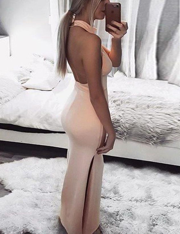Sexy Halter Backless Solid Party Slit Bodycon Maxi Dress