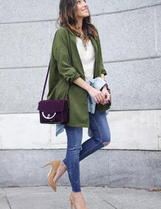 Fashion Slit Side Army Green Belt Coat