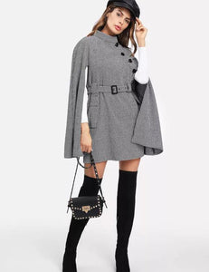 British Style Slim Waist Chic Windbreaker Cloak Jacket