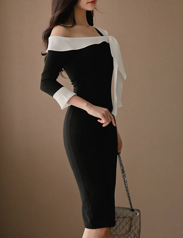 Sexy One Shoulder 3/4 Sleeve Black Bodycon Midi Dress
