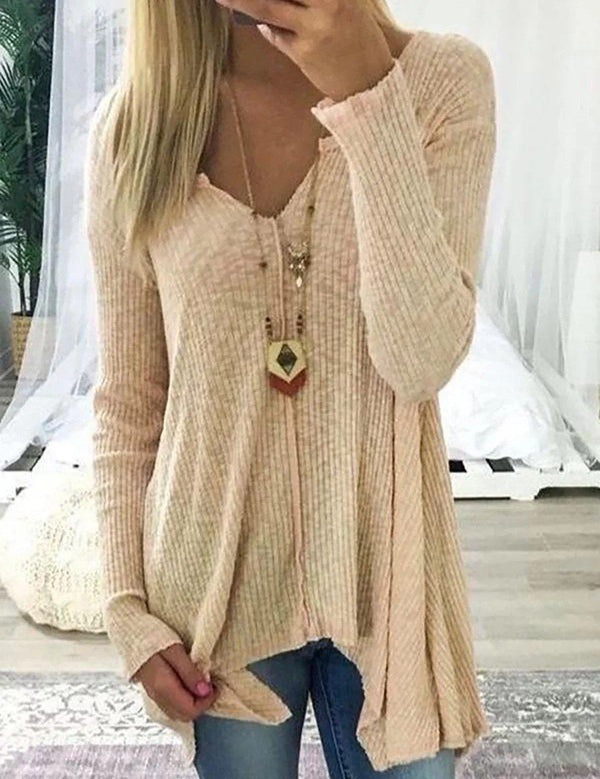 V Neck Long Sleeve Cotton Solid Casual Sweater