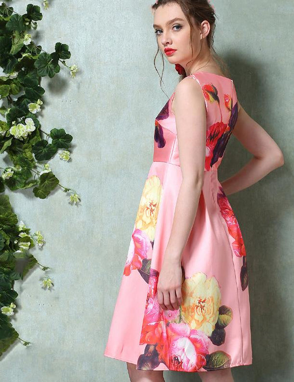 A-Line Sleeveless Floral Print Pink Knee Length Midi Dress
