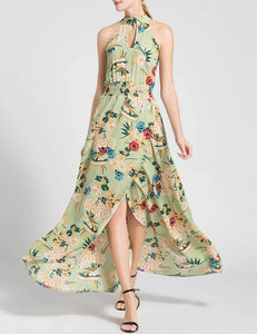New Summer Slip Irregular Hem Green Print Sexy Maxi Dress