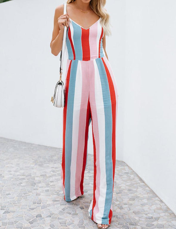 Rainbow Printing Sling Back Tied Straps Jumpsuit