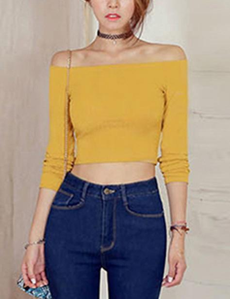 Sexy Off Shoulder Long Sleeve  Smock Crop Top