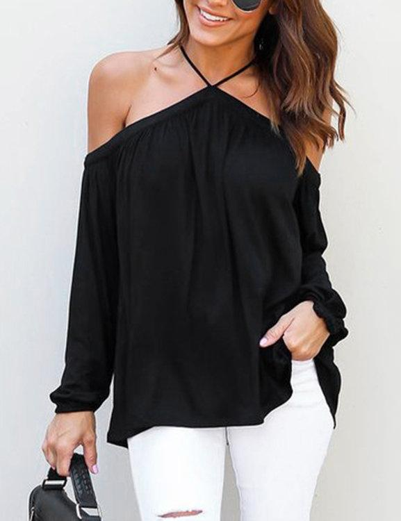 Halter Off Shoulder Long Sleeve Solid Blouse