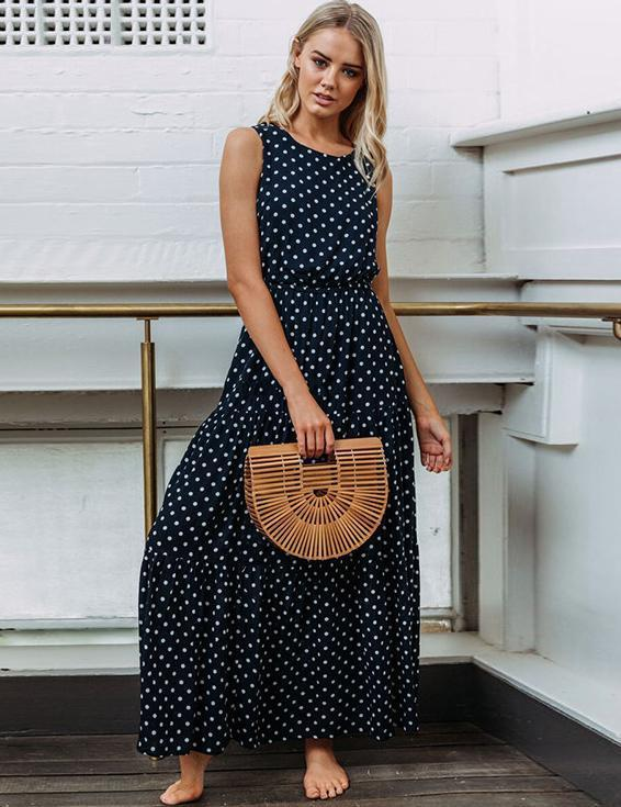 Hot Summer Fashion Wave Round Neck Dress Sexy Button Maxi Dress