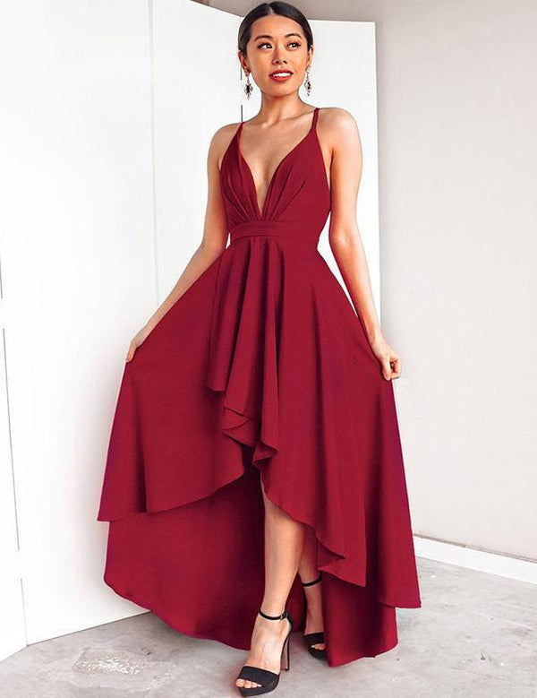 High-Low Sexy V-Neck Spaghetti Straps Homecoming Midi Dress