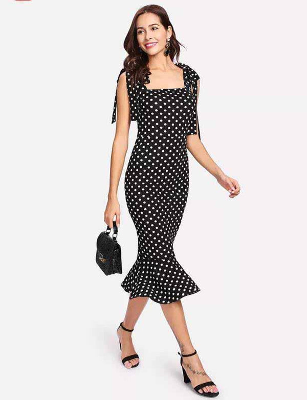Sheath Self Tie Shoulder Polka Dot Ruffle Hem Midi Dress