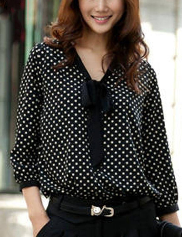 Women Long Sleeve Chiffon Casual O-Neck Dot Bowknot Shirt