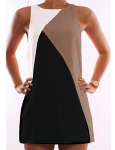 Fashion geometric sleeveless splicing dress - Fancyqube