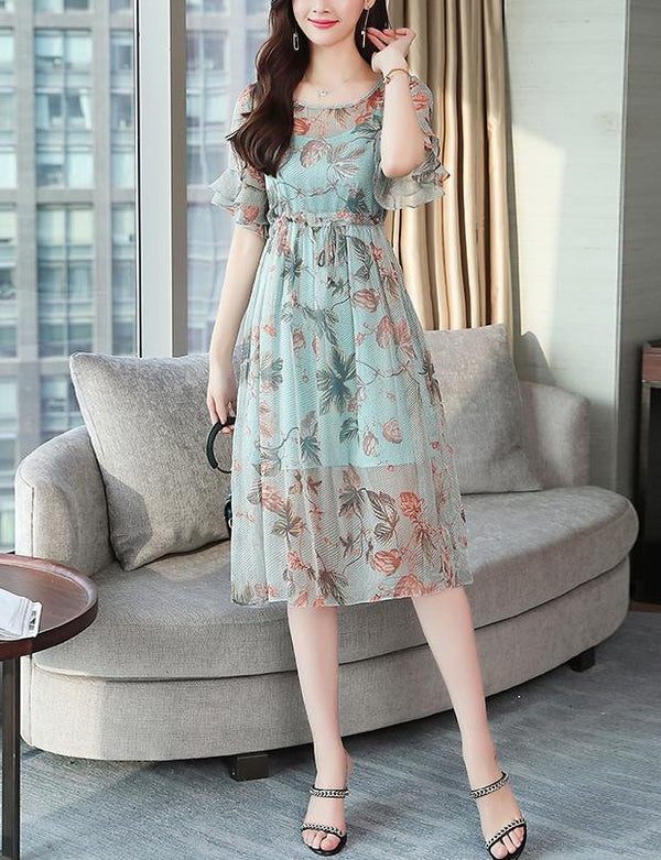 Two Piece Slip and A-line Boat Neck Ruffle Sleeve Floral Chiffon Midi Dress