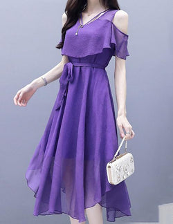 Off-the-Shoulder Short Sleeve Tied Belt Chiffon Casual Midi Dress