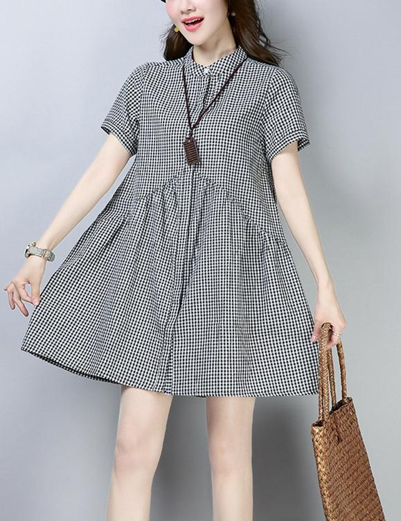 New Loose Short-Sleeved Retro Plaid Cotton Mini Dress
