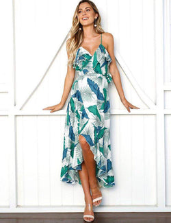 A-Line Keyhole Split Leg Green Print Chiffon Maxi Dress