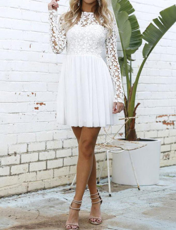 A-Line Long Sleeved Lace Stitching White Mini Dress