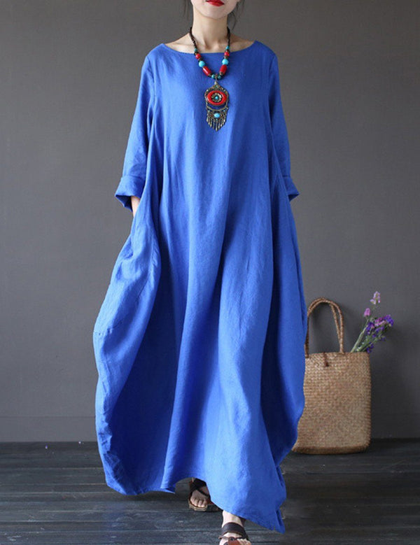 Plus Size Round Neck Long Sleeve Pockets Plain Maxi Dress