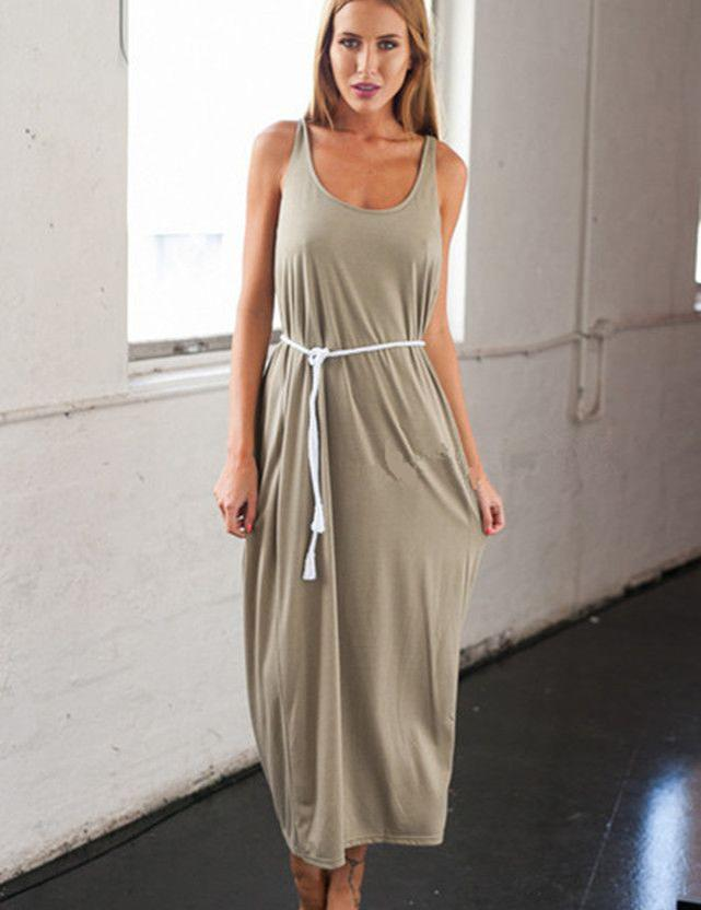 New Fashion U-Neck Sleeveless Khaki Backless Sexy Maxi Dress - Fancyqube