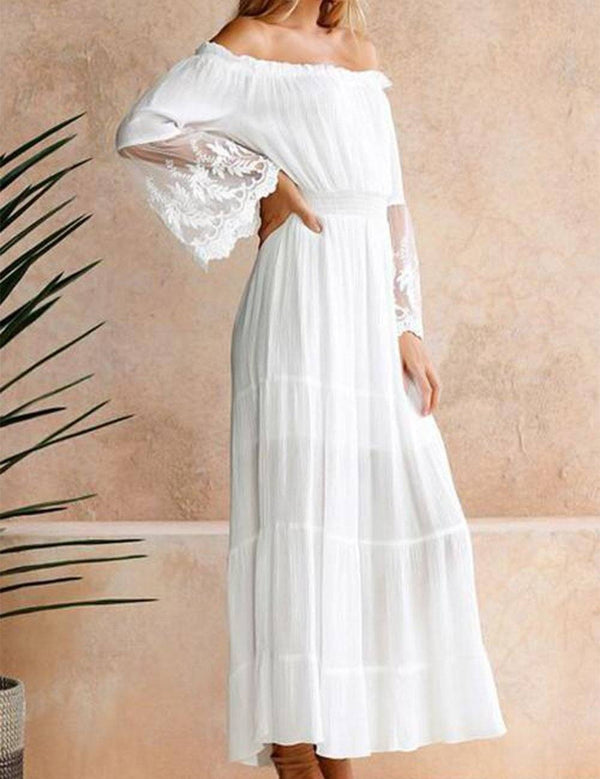 Off-the-Shoulder Long Sleeve Lace Patchwork Maxi Dress - Fancyqube