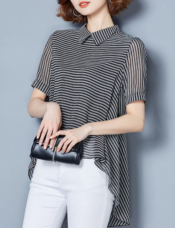 High-Low Stand Collar Asymmetric Hem Black Striped Chiffon Blouse